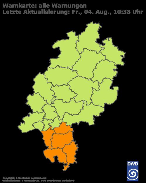 Aktuelle Wetterwarnungen für Bergstraße