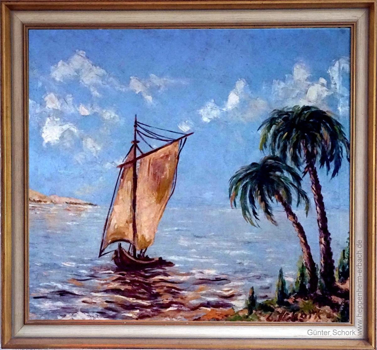 Segelschiff, an der Code d'Azur von Günter Schork